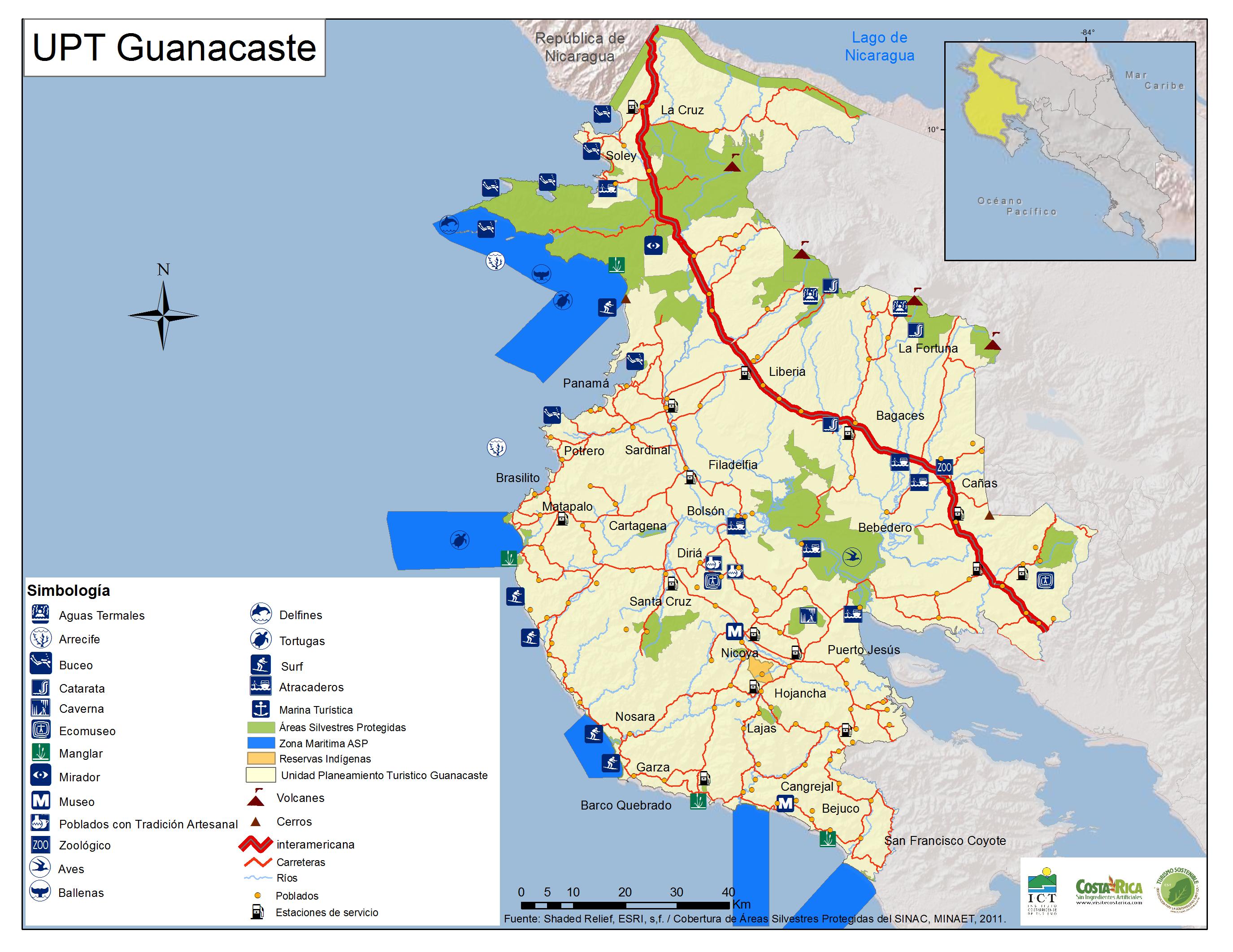 Carte de Guanacaste - Costa Rica