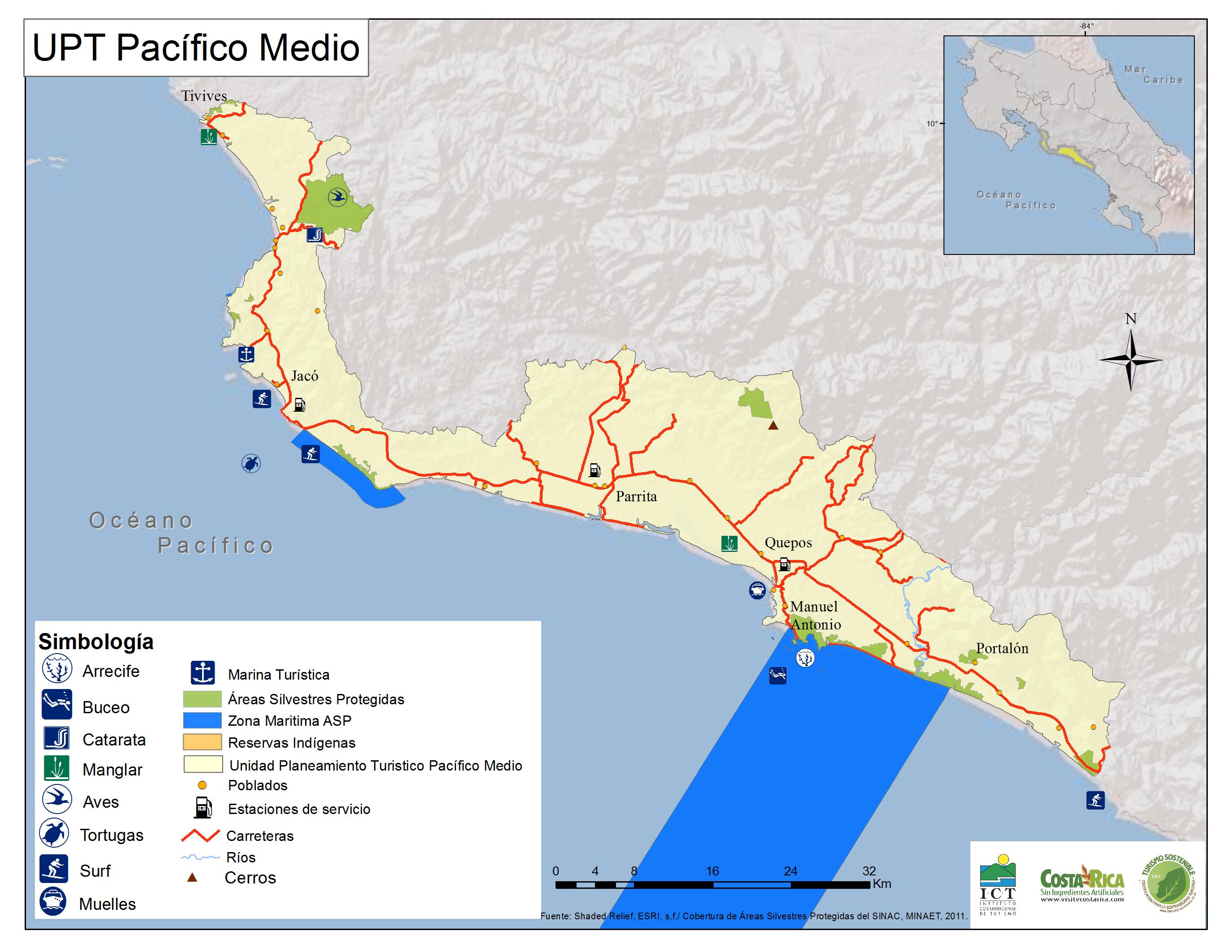 Carte du Pacifique Centrale - Costa Rica