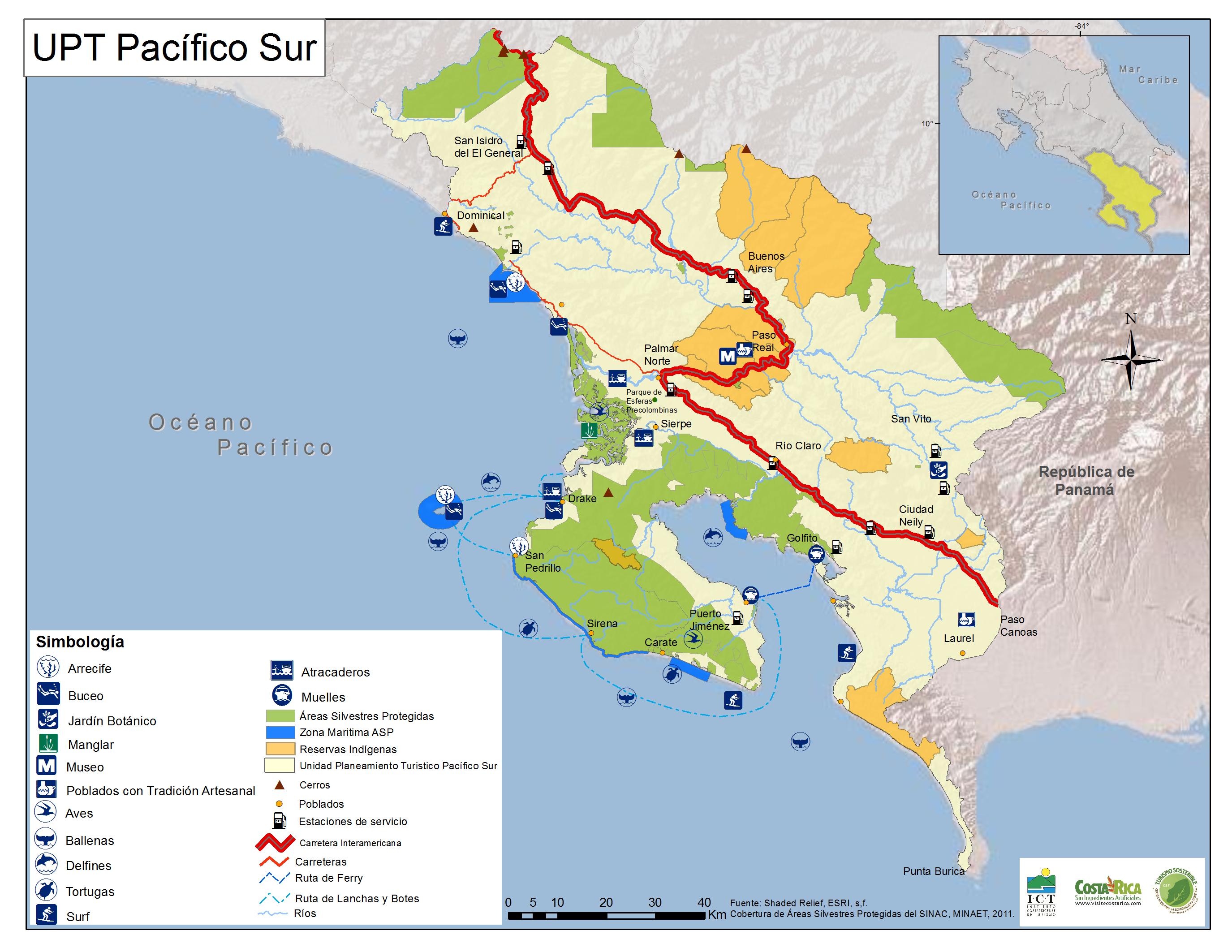 Carte du Pacifique Sud - Costa Rica