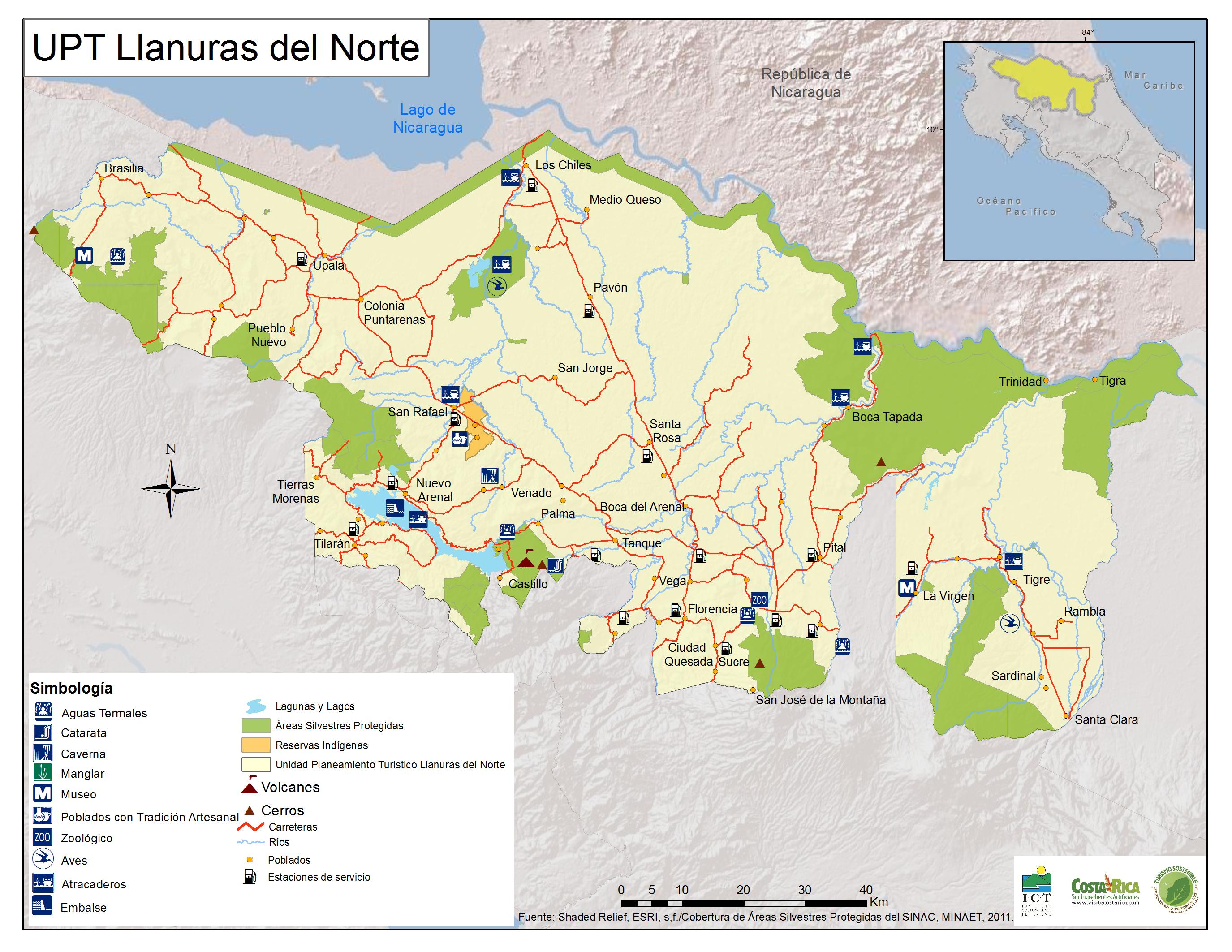 Carte des Plaines du Nord - Costa Rica