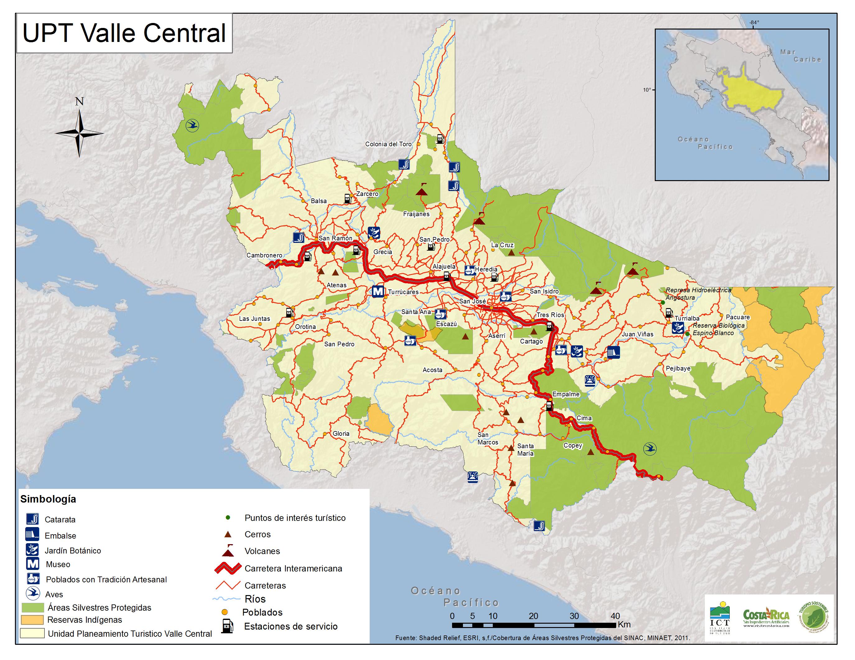 Carte de la Vallée Centrale - Costa Rica